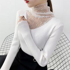 Norte - Turtleneck Lace Panel Knit Top