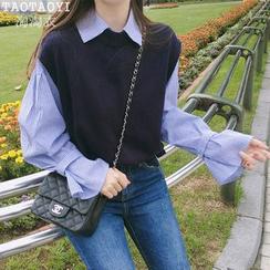 Leoom - 條紋襯衫 / 側繫帶針織馬甲