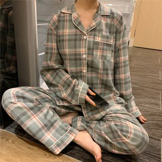 Sadelle(サデッレ) - Set: Pajama Plaid Shirt + Pants