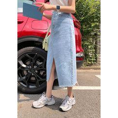 chuu - H-Line Long Denim Skirt
