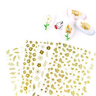 Monoe - Metallic Flower  / Leaf Nail Art Stickers