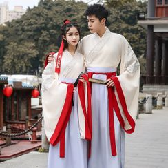 Tangier - Couple Matching Long-Sleeve Dragon Embroidered Traditional Chinese Costume