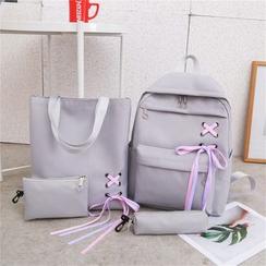 AIQER - 套装: 系带帆布背包 + 手提袋 + 小袋 + 铅笔袋