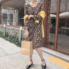 MERONGSHOP - Tie-Neck Frilled-Collar Midi Floral Dress