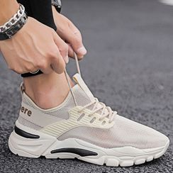 JACIN - Mesh Panel Lace-Up Sneakers