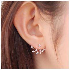 Glamiz - Rhinestone Leaf Ear Jackets