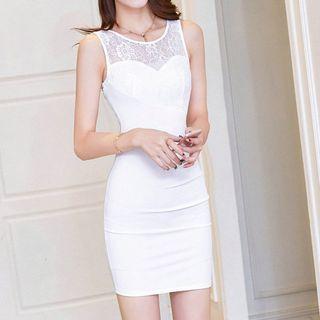 Fashion Street - Lace Panel Sleeveless Dress