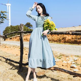 Glaypio - Ruffle Trim Long-Sleeve Midi A-Line Dress