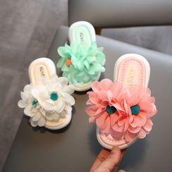 Doradas - Kids Flower-Accent Slide Sandals