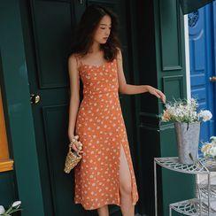 Lydiah - Spaghetti Strap Floral Print A-Line Dress / Light Jacket
