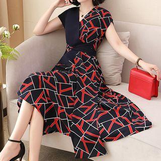 Romantica - Short-Sleeve Pattern A-Line Dress
