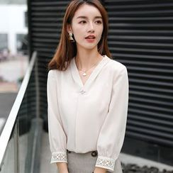 EFO - Crochet Lace-Trim 3/4-Sleeve Chiffon Blouse