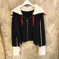 Kaypray - Color Block Zip Cardigan