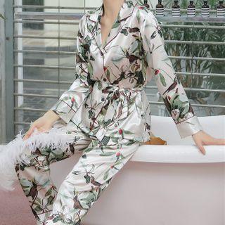 Almilo - Pajama Set: Printed Tie-Waist Long-Sleeve Top + Pants