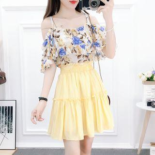 Petit Lace - Set: Cold-Shoulder Floral Top + Mini A-Line Skirt