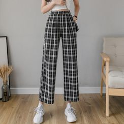 Emeraude(エメロード) - Plaid Wide-Leg Pants