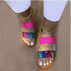 Avanti - Faux Snake Skin Slide Sandals