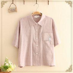 Kawaii Fairyland - 女孩及狗刺繡圓點短袖襯衫