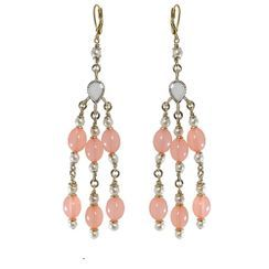 KATENKELLY - Beaded Chandelier Earrings (Pink)