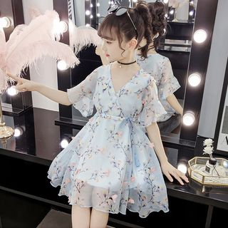 Qin Qin - Kids Short-Sleeve Floral Dress