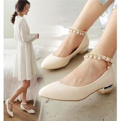 Freesia - Embellished Ankle-Strap Flats