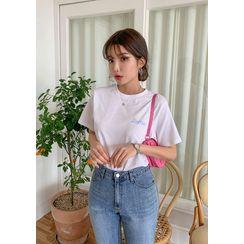 chuu - 'Barbie Diary' Letter Print T-Shirt