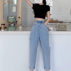 Attune - 純色圓領短款T裇/高腰寬鬆牛仔牛仔褲