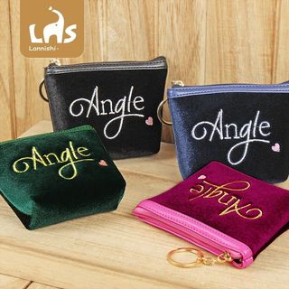 Coomui - Lettering Embroidered Velvet Coin Purse