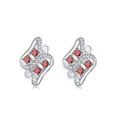 BELEC - 时尚个性几何纹理红色锆石耳钉