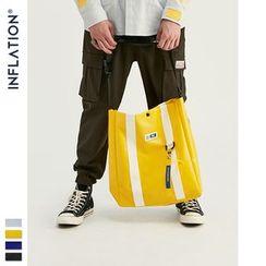 Newin - 肩带织带拼接印花大容量单肩包