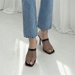 MONOBARBI - Square-Toe Net Stiletto-Heel Sandals