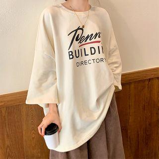 Iduna - 3/4-Sleeve Letter Print Oversize T-Shirt