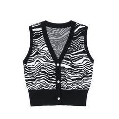 JIN STUDIOS - Zebra Print Knit Vest