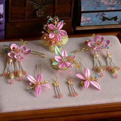 Ashmi - Wedding Set: Floral Hair Stick + Hair Comb + Fringed Earring