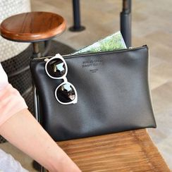 BABOSARANG - 'Feel So Good Sunny' Embossed Pleather Clutch