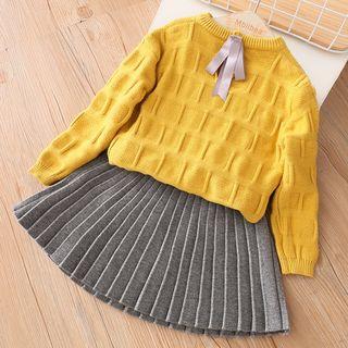 贝壳童装 - 小童套装: 圆领长袖针织上衣 + 饰褶短裙