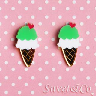 Sweet & Co. - I LOVE 雪糕金粉绿耳环
