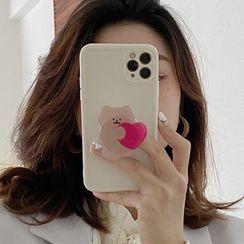 Hephone - Bear Stand Phone Case - iPhone 12 Pro Max / 12 Pro / 12 / 12 mini / 11 Pro Max / 11 Pro / 11 / SE / XS Max / XS / XR / X / SE 2 / 8 / 8 Plus / 7 / 7 Plus