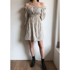 chuu - Off-Shoulder Pattern Dress & Scarf