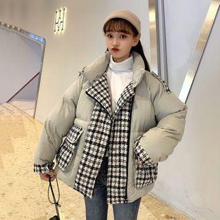 Sisyphi - Padded Plaid Panel Zipped Jacket