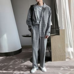 Freehop - Single Breasted Plaid Blazer / High-Waist Plaid Dress Pants