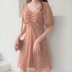 Hanji - Short-Sleeve Printed Mini A-Line Chiffon Dress