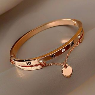 Cepheus(ケフェウス) - Roman Numeral Heart Layered Sterling Silver Bangle