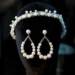 Suaylla - 套装: 仿珍珠婚礼发箍 + 耳坠