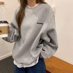 Juku Girls - Mock Two-Piece Lettering Sweatshirt