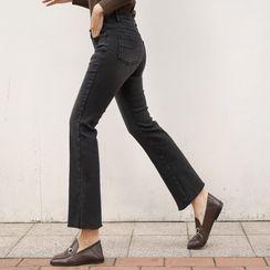 CLICK - Slit-Hem Semi Boot-Cut Jeans