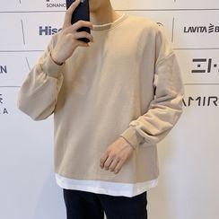 jaywoon - 假兩件純色衛衣
