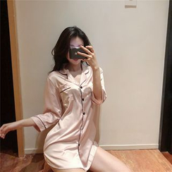 NENE - Silky Pajama Shirtdress