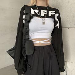 RONIN - 套装: 字母短款卫衣 + 系带背心