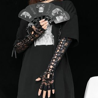 Miu B - Long Lace Fingerless Gloves